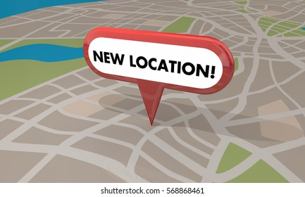 New Location Store Business Grand Opening Pin Map 3d Illustration