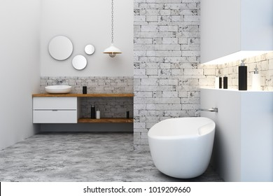 New loft bathroom interior. Side view. 3D Rendering