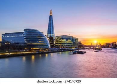 New London city hall at sunset, UK.