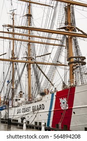 NEW LONDON, RI, USA - AUGUST 13: USS Eagle, a decommissioned United States Coast Guard Cutter visited the port August 13th, 2014 in New London, RI, USA.
