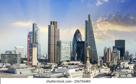 New London Skyline with beautiful sky.