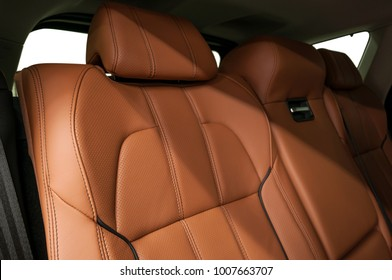 New luxury car interior detail. Leather seats.