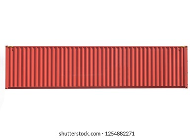 New manufacturing of shipping red 40' high cube container on side panel view on the white background.