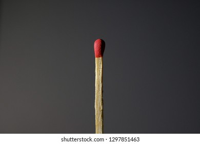 New match ready to lighting and burning till the end from the flame on black background. The match beginning light up, burn and go out. Burning match stick preparing for lights.