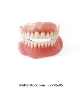 New medical denture smile white white teeth on white background