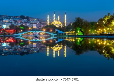 New Melike Hatun Mosque view from Genclik Park in Ankara, Turkey
