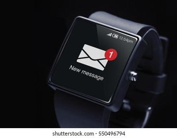 New message icon with smartwatch. A smartwatch is a wearable computing device that closely resembles a wristwatch or other time-keeping device.