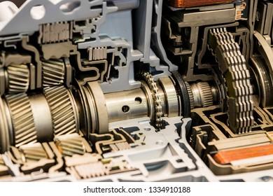 new metal car parts shot close up