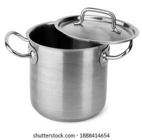 Neuer Kochtopf aus Metall einzeln auf Weiß