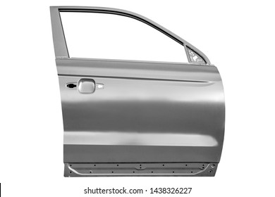 New metal front door of a car on a white background