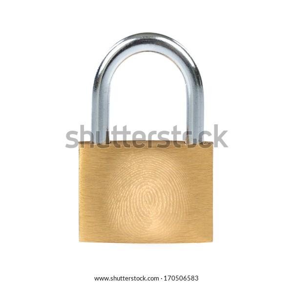 New metal padlock with fingerprint on white background