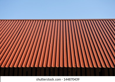 New metal roof on farm storehouse.
