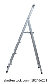 New Metallic Step Ladder isolated on white