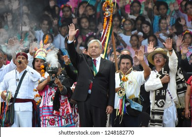 New Mexican President Andres Manuel Lopez Obrador  during  an Indigenous ceremony as part of  ceremony of the takeover as the new President of Mexico on December 01, 2018 in Mexico City