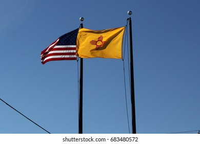 New Mexico and American Flags