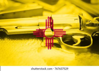 New Mexico flag (U.S. state) Gun Control USA. United States Gun Laws.
