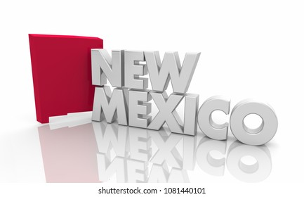 New Mexico NM Red State Map Word 3d Illustration