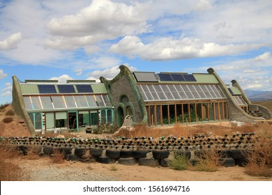 NEW MEXICO – OCTOBER 03, 2019: Earthship Biotecture community in New Mexico, USA.