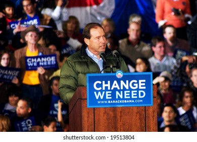 NEW MEXICO - OCTOBER 25: Democratic candidate for senate, Tom Udall, speaks at a Barack Obama presidential rally at the University of New Mexico on October 25, 2008 in Albuquerque, New Mexico.