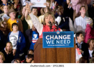 NEW MEXICO - OCTOBER 25: Lt Governor Diane Denish (D-NM) gestures as she speaks at a Barack Obama presidential rally at the University of New Mexico on October 25, 2008 in Albuquerque, New Mexico.