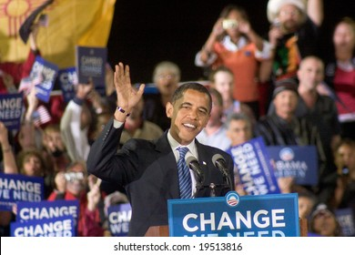 NEW MEXICO - OCTOBER 25: U.S. Presidential candidate, Barack Obama, gestures as he speaks at his presidential rally at the University of New Mexico on October 25, 2008 in Albuquerque, New Mexico.