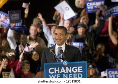 NEW MEXICO - OCTOBER 25: U.S. Presidential candidate, Barack Obama, smiles as he speaks at his presidential rally at the University of New Mexico on October 25, 2008 in Albuquerque, New Mexico.