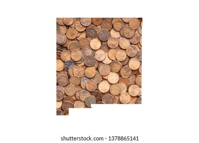New Mexico State Map and Money Concept, Piles of Coins, Pennies