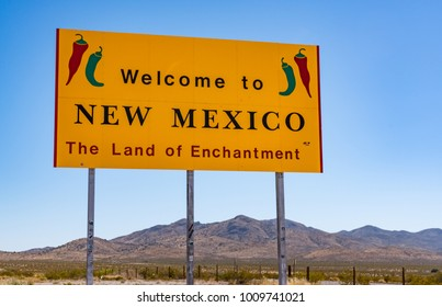 NEW MEXICO, USA - OCTOBER 26, 2017:  Welcome to New Mexico sign along the highway at the state border.