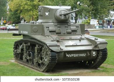 NEW MILFORD, CONNECTICUT   SEPTEMBER 18, 2016: The M3 Stuart Light Tank On