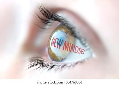 New Mindset reflection in eye.