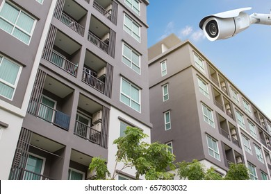 New modern apartment building and CCTV.