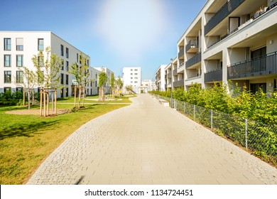 New modern apartment buildings in a residential complex in the city