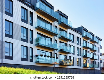 New modern apartment house building. Including place for copy space