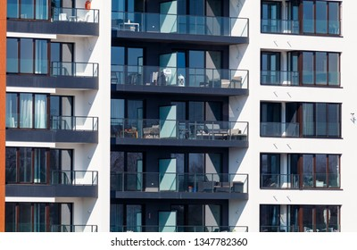 New modern architectural building house with balconies, Prague