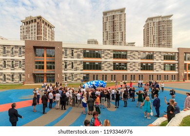 New modern building of kindergarten. Early years, Moscow, Russia, September, 2018.