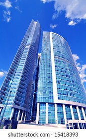 New modern business centre in blue color in moscow city , russia