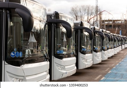 New modern busses on LPG. International Symbol of Access - Wheelchair Symbol (handicapped, physically challenged and disabled), Baby Stroller Symbol and Elderly (Old) People Symbol on the windshield.