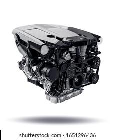 New modern car engine isolated on white background. Automotive industries. Car motor on white background