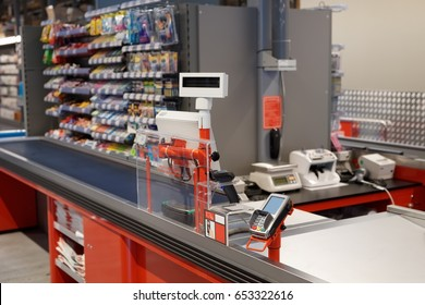 New and modern checkout terminal in a supermarket, nobody