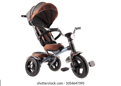new modern child tricycle stroller with roof isolated on white background
