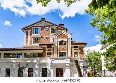 New modern house, mihai eminescu street in the chisinau downtown, blue sky and clouds