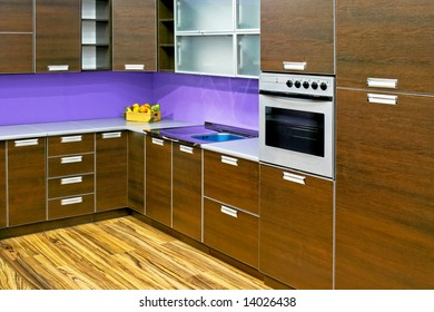 New and modern kitchen counter in wooden style