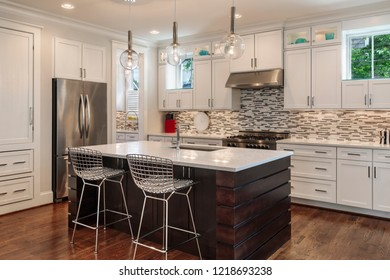 New modern kitchen with the lights on