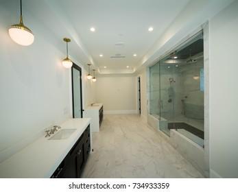 New modern luxury bathroom setting
