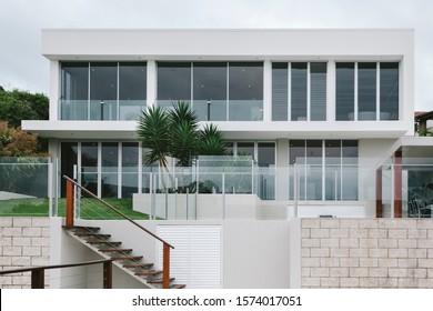 New modern luxury white house exterior