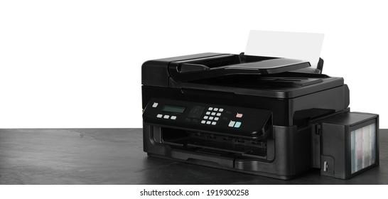 New modern multifunction printer on grey table