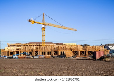 New and modern, multilevel apartment complexes are being built in Mountain View, San Francisco bay area, California
