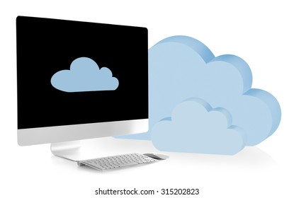 New modern PC with clouds. Cloud computing concept