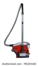New modern red-silver vacuum cleaner on white background