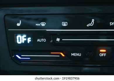 New modern sensor car climate control panel or console of air conditioner, sensor buttons, close up
